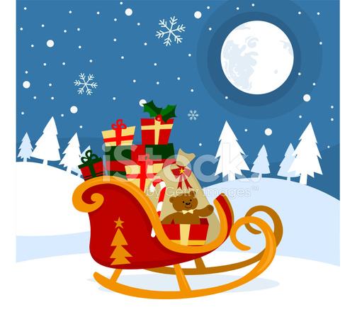 premium stock photo of santa claus sleigh with presents full moon snowy night - Santa Claus Presents