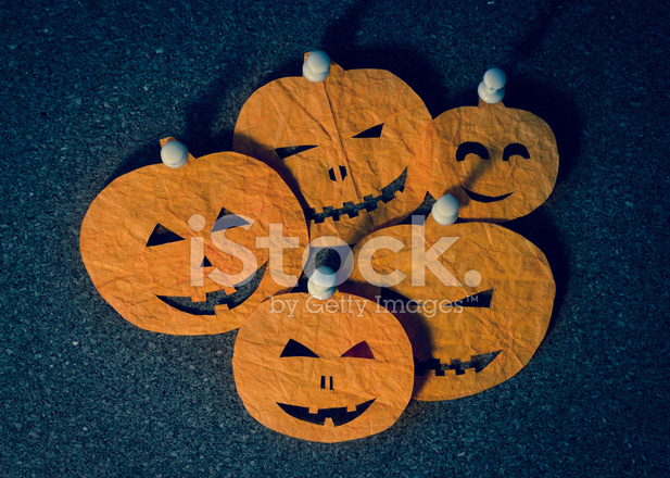 Halloween Pumpkin Head Cutouts on A Notice Stock Photos ...