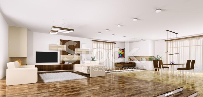 Interieur Des Modernen Appartement Panorama 3d Render Stockfotos ...