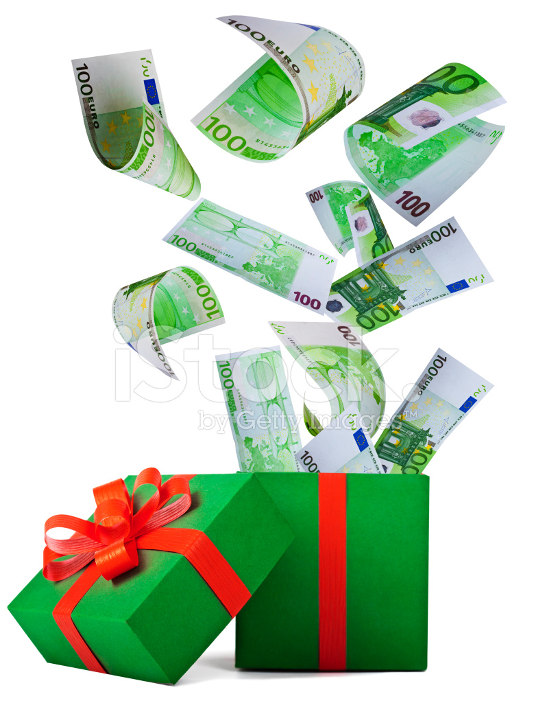 Money for Christmas Gift Box With Banknote of Euro Stock Photos ...
