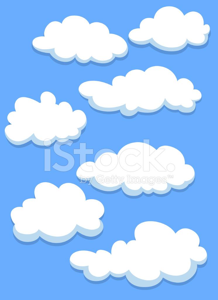 Dibujos Animados Nubes Blancas En El Cielo Stock Vector Freeimagescom