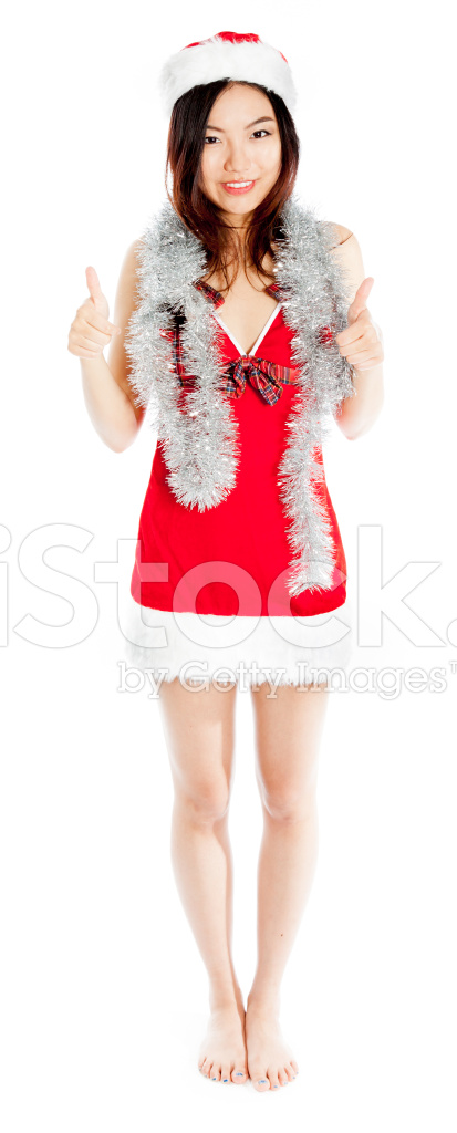 Premium Stock Photo of Sexy Asian Santa Claus Positive Thumbs UP With A  Garland