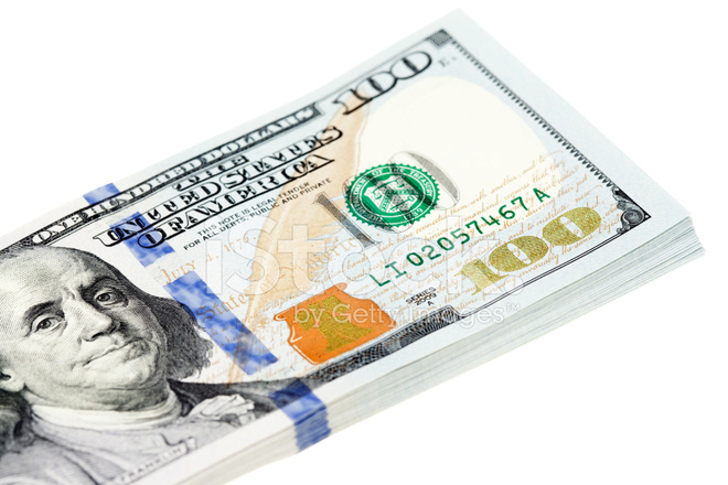 Stack of New US 2013 $100 Bills on White Stock Photos