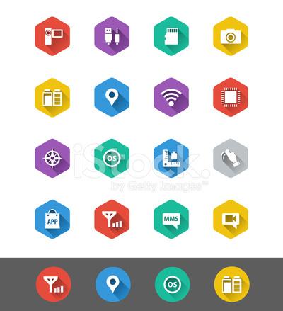 平面图标系列: 智能手机规格图标 Stock Vector Freeimages Com