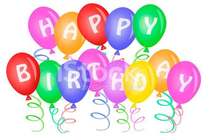 grattis ballonger Grattis På Födelsedagen Text På Ballonger Stockfoton   FreeImages.com grattis ballonger