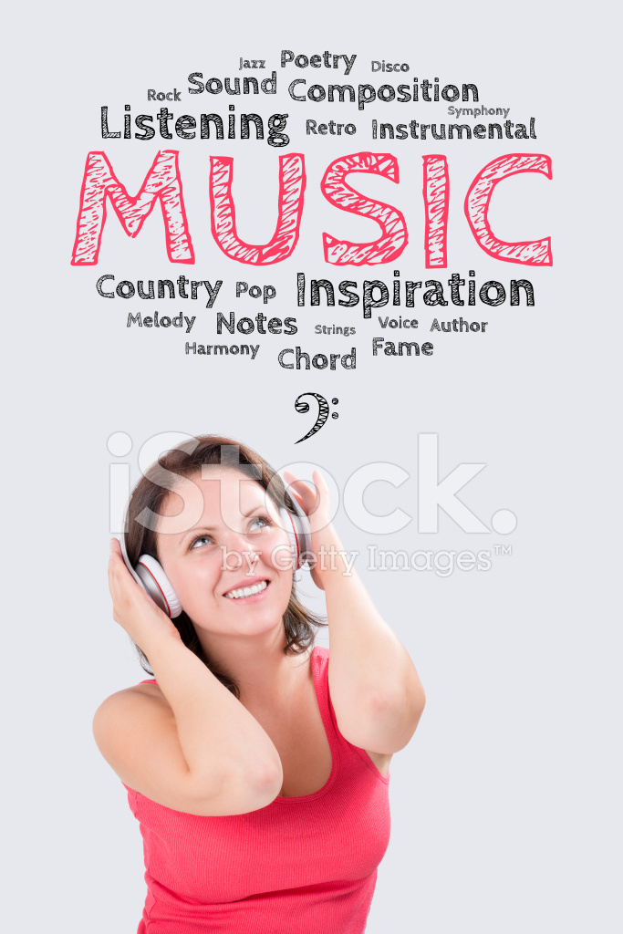 Smiling Young Woman IS Listening TO Music Under Emotions