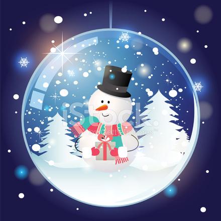 Christmas Snowman Snow Globe Illustration
