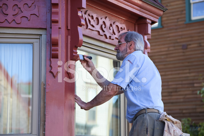 Older Man Painting His House Stock Photos - FreeImages com