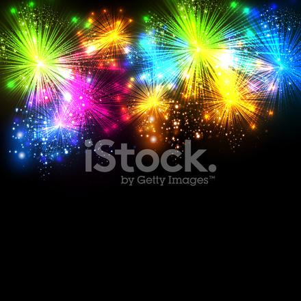 Fondo De Fuegos Artificiales Vector Celebracion Stock Vector