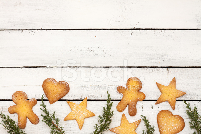 Christmas Cookies Ornament On White Background With Text Space Stock