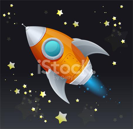 Cartone animato comico razzo nave spaziale stock vector