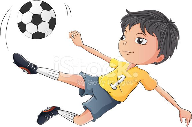 Kleinen Jungen Fussball Spielen Stock Vector Freeimages Com