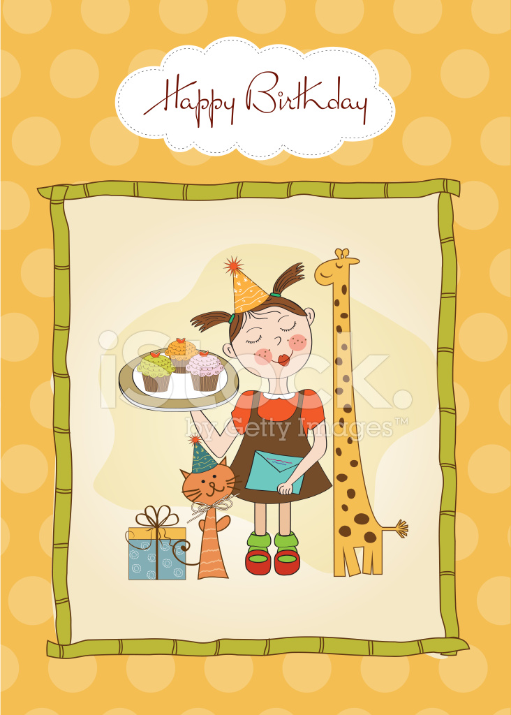 Happy Birthday Card With Funny Girl, Animals and Cupcakes stock photos - FreeImages.com