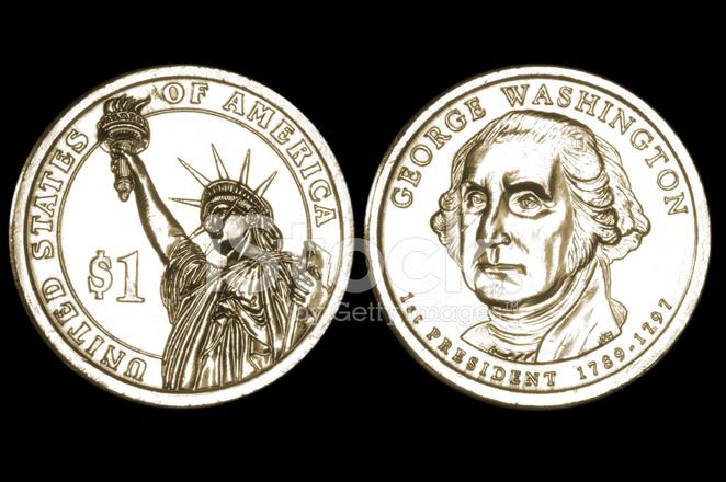 Neue Us Ein Dollar Münze Stockfotos Freeimagescom