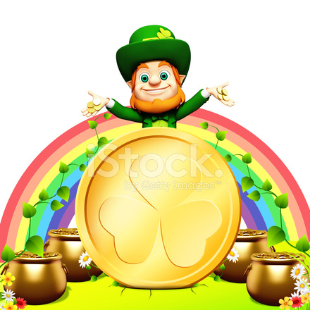 St Patricks Day Leprechaun With Gold Coin And Rainbow