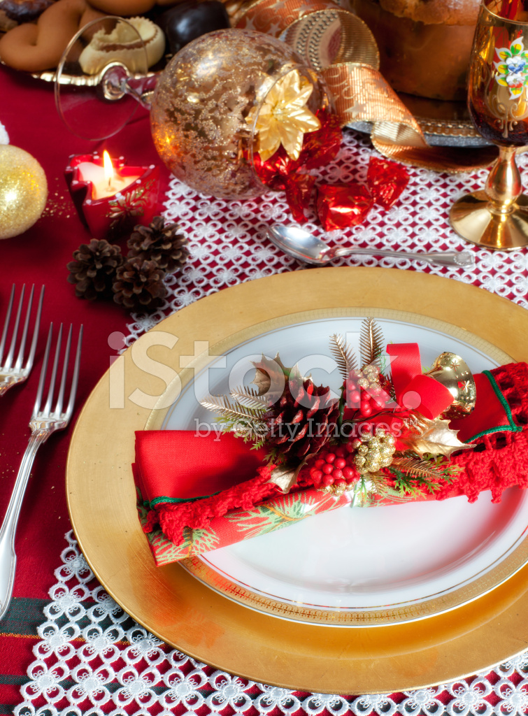 Decorated Christmas Dinner Table Setting Stock Photos Freeimages Com