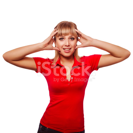 a7f6ad62 Premium Stock Photo of Young Beautiful Blond Woman Holding Hands Behind Her  Head IN
