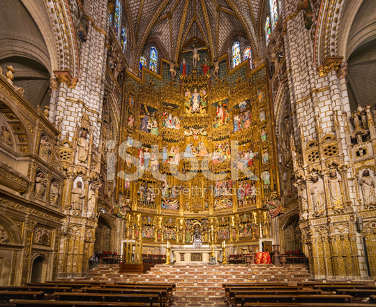 High Altar In Toledo Cathedral Spain Stock Photos