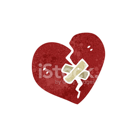 Retro Cartoon Broken Heart Symbol Stock Vector Freeimages