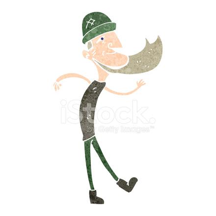 Cartone animato retrò danza uomo con barba stock vector