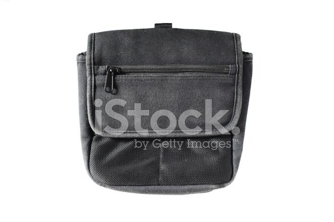 738d18c05df3b Premium Stock Photo of Schwarzer Stoff Canvas Tasche Isoliert Auf Weißem  Hintergrund