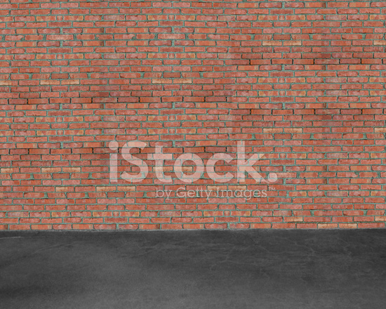 kamer interieur met rode bakstenen muur en beton vloer achtergrond