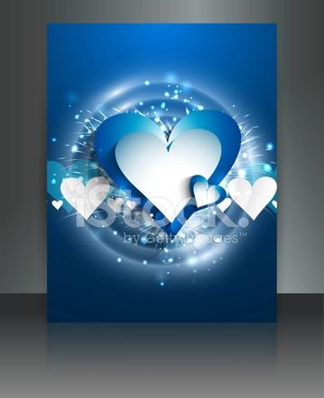 Mavi Renkli Aşk Broşür Kartı Vektör Arka Plan Stock Vector