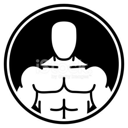Bodybuilder Symbool In Zwarte Cirkel Stock Vector Freeimages