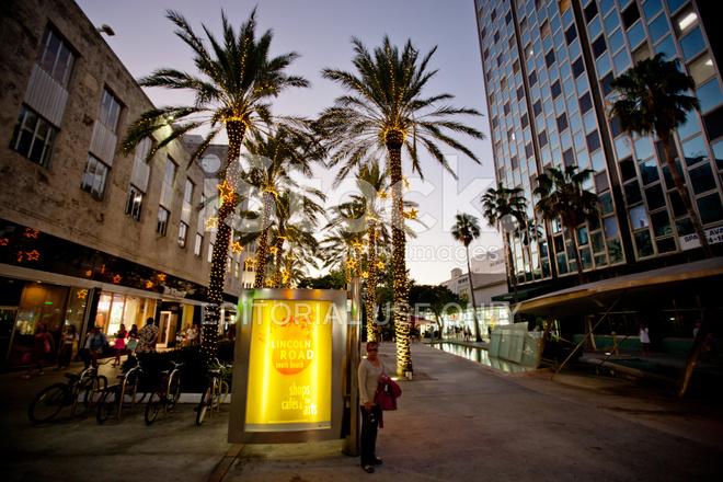 Decorated Lincoln Road Mall Miami Beach Stock Photos