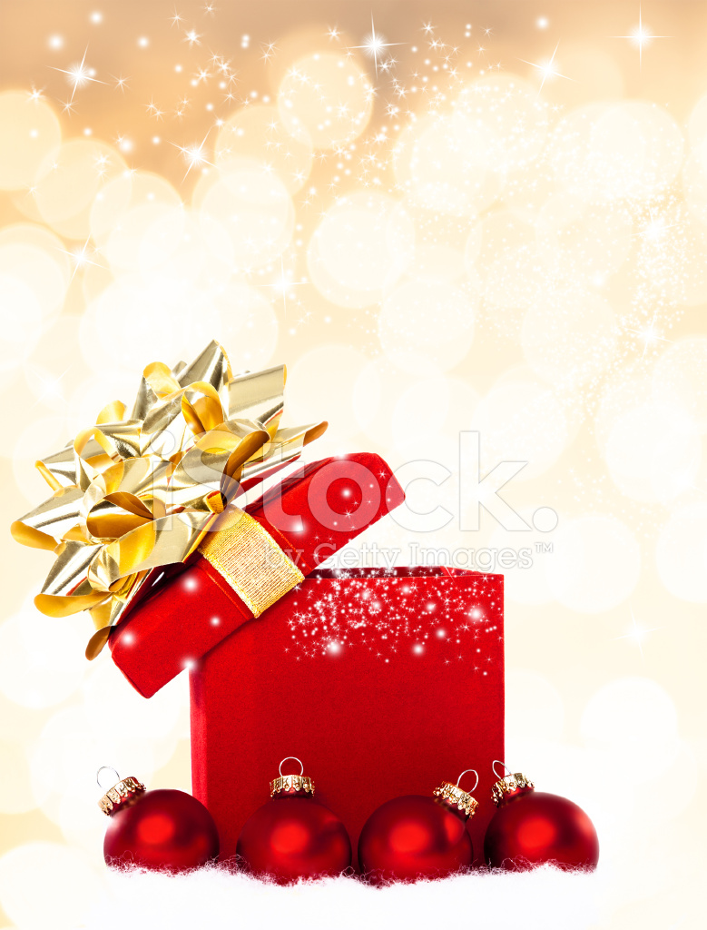 Magical Christmas Gift Background Stock Photos