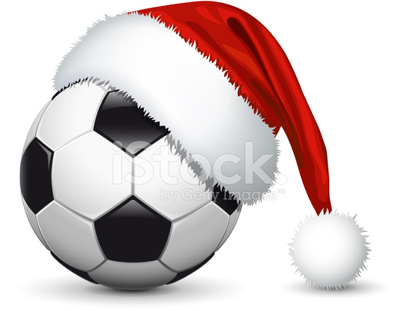 Santa hat on soccer ball stock photos freeimages