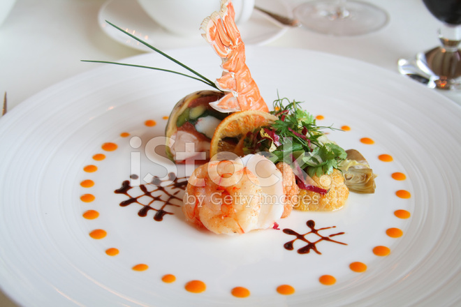 Plate of french food stock photos for Alif tree french cuisine