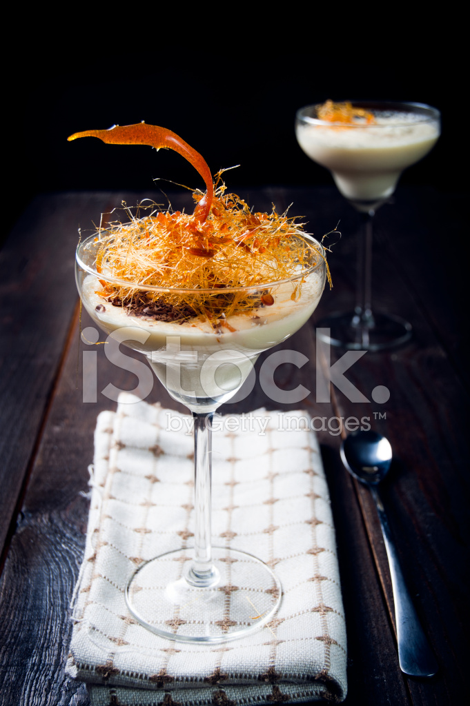 Delicate white chocolate mousse with caramel decoration - Mousse decoration ...