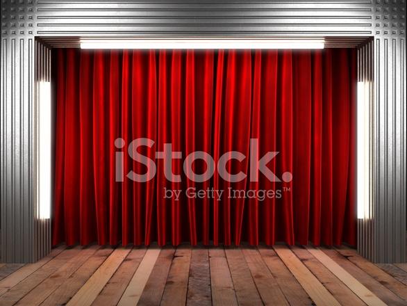 Rode Fabrick Gordijn Op Het Podium Stockfoto\'s - FreeImages.com