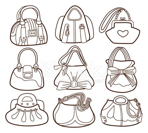 Colección DE Bolsos DE Moda Femenina (libro Para Colorear) Stock ...