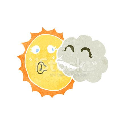 Nubes Y Sol Dibujos Animados Retro fotografas de stock