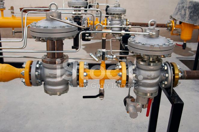 Two Pressure Reducing Regulators Inside A Natural Gas Distributi