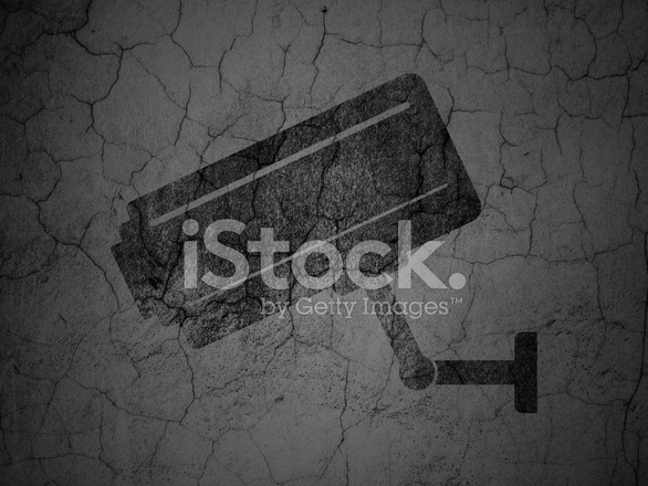 Grunge Camera Vector : Security concept: cctv camera on grunge wall background stock vector