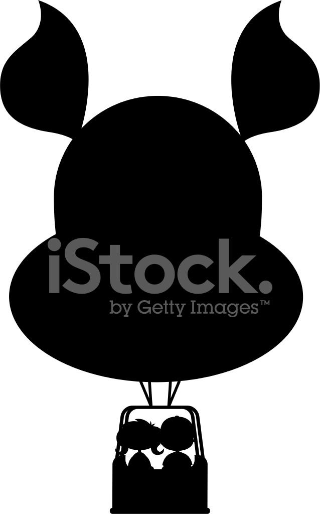 kinder im hei luft ballon silhouette stockfotos. Black Bedroom Furniture Sets. Home Design Ideas