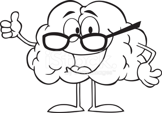 Personaje DE Dibujos Animados DE Blanco Y Negro Cerebro Dando Los