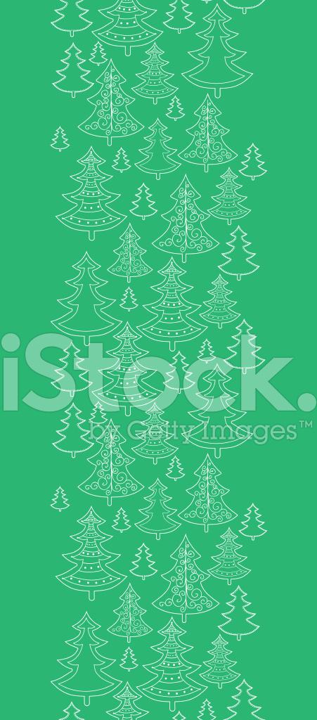 Doodle Yılbaşı Ağaçları Dikey Dikişsiz Desen Arka Plan Stock Vector