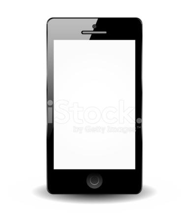 Nero Smartphone Isolato Su Sfondo Bianco Telefono Intelligente Stock