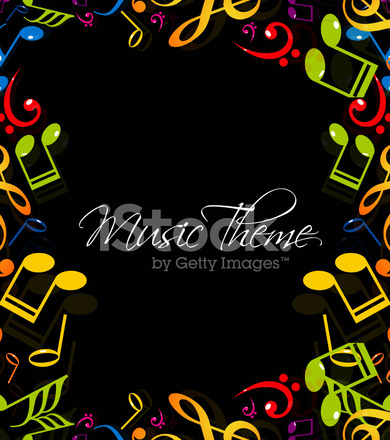 Abstract Music Notes Stylish Multicolorful Black Background