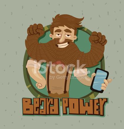 Barba di potenza con telefono etichetta stock vector