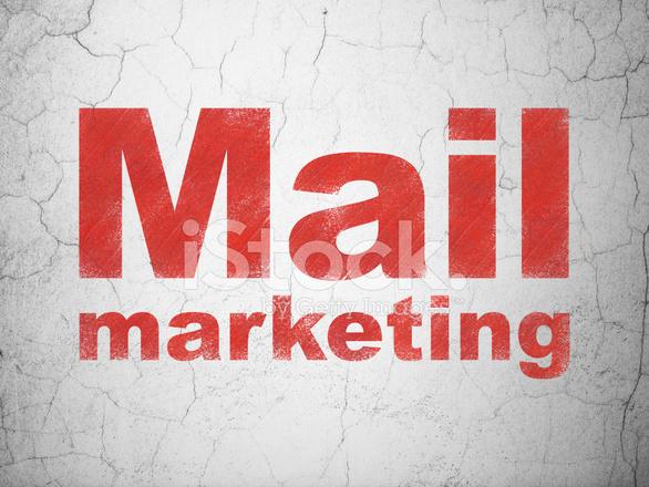 Graphic Design Muur : Reclame concept: mail marketing op muur achtergrond stock vector