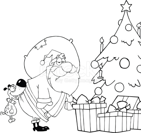 Black And White Dog Biting Santa Claus Under Christmas Tree Stock
