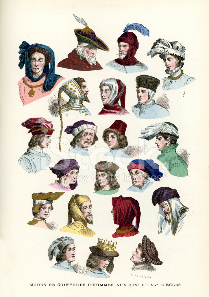 Mens Headwear 15th and 16th Century Stock Vector - FreeImages.com