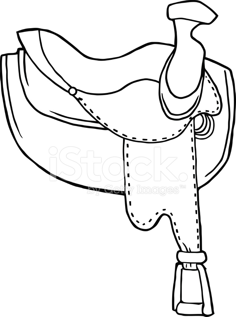 black and white horse saddle stock vector