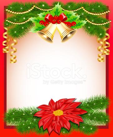Fondo Navidad Con Campanas De Flor Y Ramas De Abeto Stock Vector