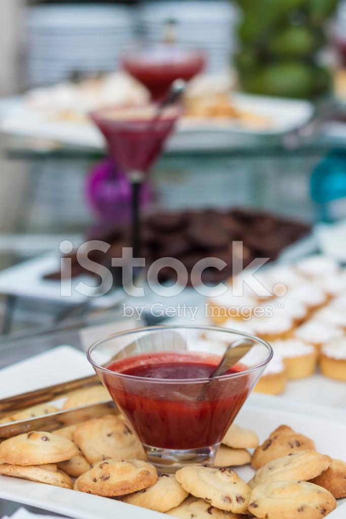 Buffet with cookies tarts and jam stock photos for Sideboard jam